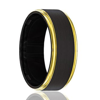 Men's Black Brushed Tungsten Wedding Band with Yellow Gold Stepped Edges - 8MM