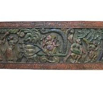 Vintage Antique Carved Headboard Ganesha Panel Riding a Chariot Pulled By Rats