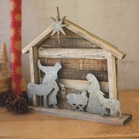 Wood And Metal Nativity
