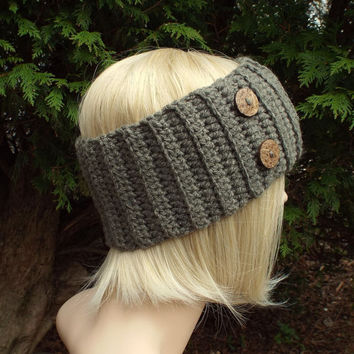 Stone Gray Ear Warmer - Crochet Headband with Buttons - Head Wrap - Womens Ski Band