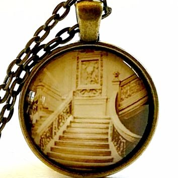 Titanic Necklace | Glass Pendant | Titanic Photo | Titanic Stairs