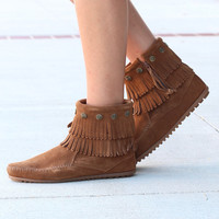 Minnetonka: Double Fringe Side Zip Bootie {Dusty Brown}