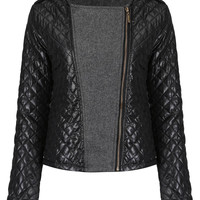 Quilted Biker Jacket with Knit Panels