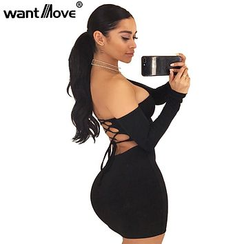 Wantmove 2018 summer dress sexy back lace up off the shoulder mini dress women bodycon club dresses fashion vestidos XD951