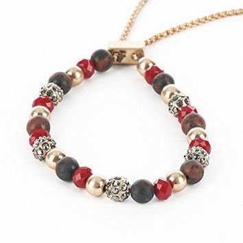 Natural Stone Bead Adjustable Chain Bracelet PTB115042MGRED