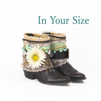 Upcycled Boots Custom Made Cowboy SHABBY CHIC Boho Festival Gypsy Western Decorated Belted Ankle Boots In YOUR SIZE