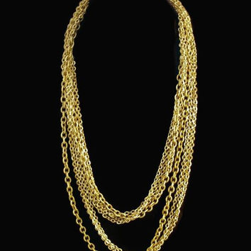 Extra Long Multi Chain Necklace Gold Tone 54 Inches Around