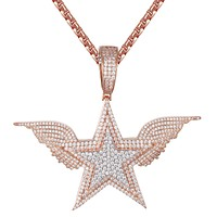 Rose Gold Double Layer Icy Star Shape Angel Wings Pendant Chain