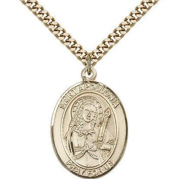 "Saint Apollonia Medal For Men - Gold Filled Necklace On 24"" Chain - 30 Day Mo... 617759584127"