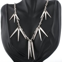 2 Pieces of Ladies Silver Dangling Spikes Style with a 30 Inch Link Chain Necklace