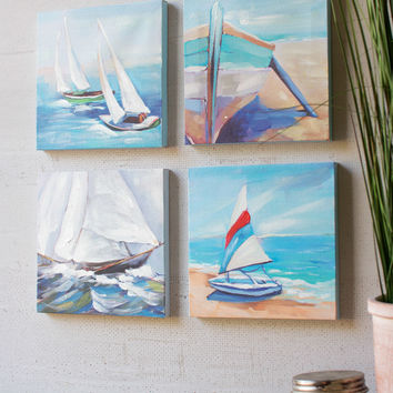 Giclee Oil Paintings - Set of 4 Boats