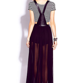 Striking Faux Leather Overall Dress