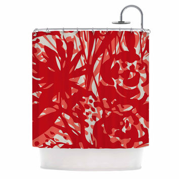 "Patternmuse ""Inky Floral Poppy"" Red Coral Painting Shower Curtain"