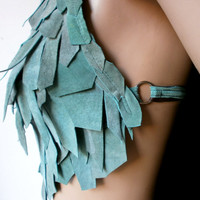 Mother of Dragons turquoise / ocean green suede patch work scale crop top / open back halter bustier