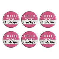 Evelyn Hello My Name Is Plastic Resin Button Set of 6