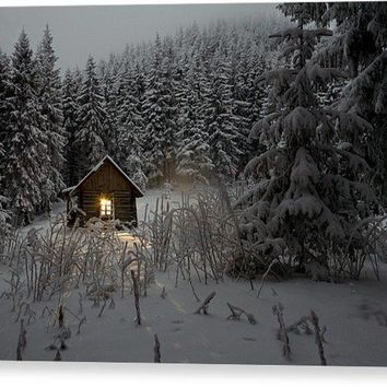 Cabin In Winter - Canvas Print