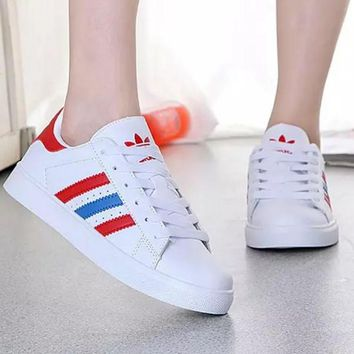 """Adidas"" Reflective Shell-toe Flats Sneakers Sport Shoes White(red blue line red logo)"