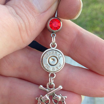 Bullet belly ring with guns