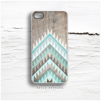 iPhone 6 Case, iPhone 5C Case Wood Print, iPhone 5s Case Chevron, iPhone 4s Case, Teal Geometric iPhone Case, Mint Chevron iPhone Cover I108