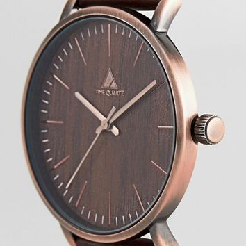ASOS Watch With Wood Effect And Brushed Copper Finish at asos.com