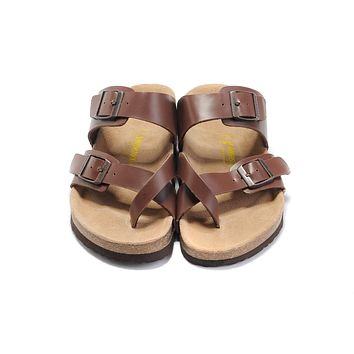 classic birkenstock summer fashion leather cork flats beach lovers slippers casual sandals for women men couples slippers color brown size 36 45-2