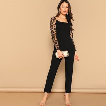 Black Sexy Mesh Flower Appliques Sleeve Square Neck Jumpsuit Women Mid Waist Skinny High Street Solid Jumpsuits