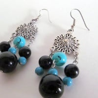 Turquoise Earring Gift for Mom Dangly Earrings Beaded Jewellery