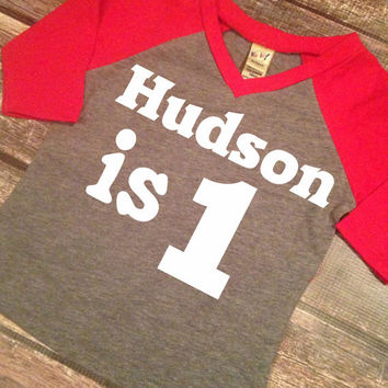 First Birthday Baby Girl Boy Long Sleeve Raglan Name And Number One Shirt