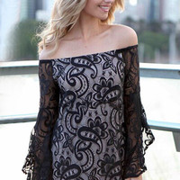 Black Off Shoulder Bell Sleeves Lace Mini Dress