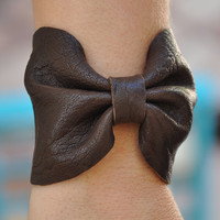 Chocolate Brown Leather Bow Bracelet
