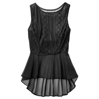 Mossimo® Women's Sleeveless Lace Peplum Tank - Assorted Colors