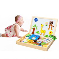 Educational Toy Wooden Kids Toy Blackboard Magnetic Pattern Block Set @Z226 BM88