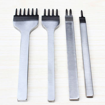 4Pcs 4mm Prong Leather Craft Tools Hand Tool Hole Punches Stitching Punch Tool Leather Tools