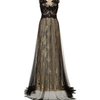 Marchesa - Metallic Lace Gown
