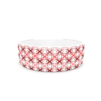 "Nandita Singh ""Pink Motifs"" Red Pattern Pet Bowl"