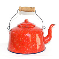Vintage Red Speckled Enamelware Teapot