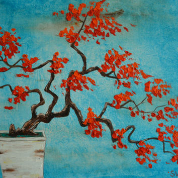 Zen Inspired Red Bonsai 2 Original Painting