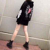 """""""Chrome Hearts"""" Women Fashion Velvet Personality Big Tongue Letter Pattern Print Loose Long Sleeve Hooded Sweater Tops"""