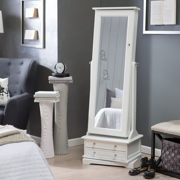 Belham Living Swivel Cheval Jewelry Armoire - White | www.hayneedle.com
