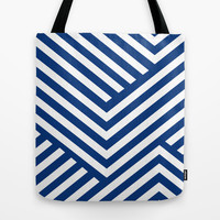 Blue and White Stripes Tote Bag by Liv B