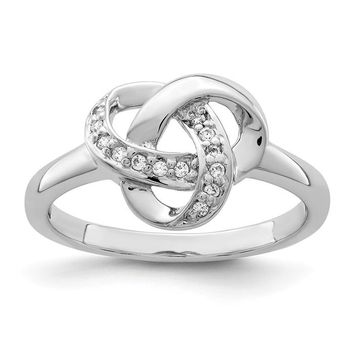 Sterling Silver CZ Love Knot Ring