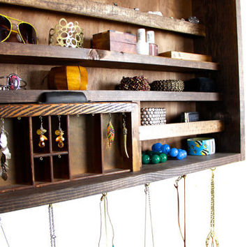 Wall Hanging Jewelry Holder made from repurposed wood..... Handmade By WoodenToWhimsy