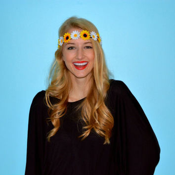 Sunflower Daisy Flower Crown Sun Flower Halo Floral Crown Sunflower Daisy Headband Flower Headband Bohemian Floral Headwrap Headpiece