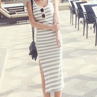 Casual Gray & White Striped Maxi
