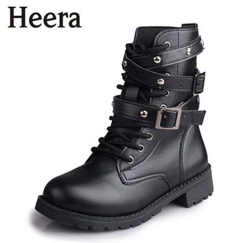 DCK7YE Hot Sale Fashion Women Motorcycle Boots Ladies Vintage Rivet Combat Army Punk Goth Ank