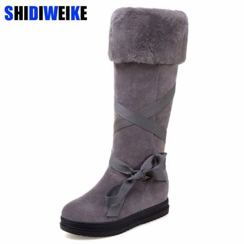 5568e731756e 2018 fashion Riband snow boots for women bootlace Suede leather