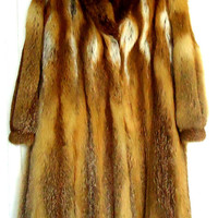 Luxurious Royal golden fox  women's fur coat M- L-XL long beautiful