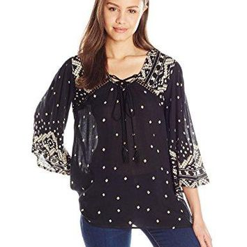 Angie Womens Bell Sleeve Top with Tassels