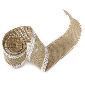 2M Hessian Burlap Lace Craft Ribbon for Vintage Wedding Home Decor [7982887047]