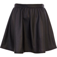 River Island Womens Black coated full skater skirt